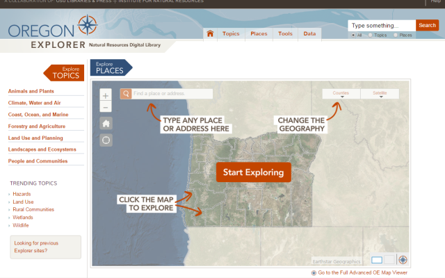 Oreogn Explorer map splash page.
