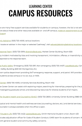 Screenshot of the Learning Center campus resource list