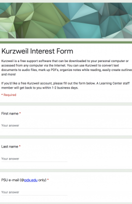 Screenshot of Kurzweil Interest Form