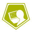 Icon of student taking a test on a computer to represent testing services