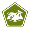 Icon with open book, pi symbol, and beaker to represent tutoring