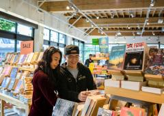 Man and woman browsing books at bookstore