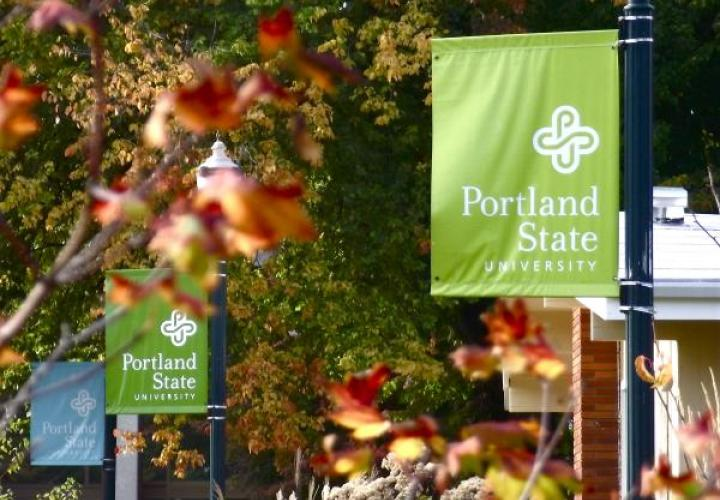PSU lamp post banner with spring flowers