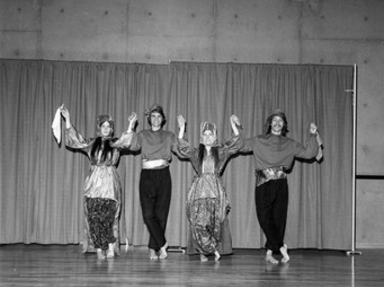 Four Turkish dancers rehearsing for an event at PSU, 1971.