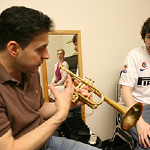 Brass student and teacher in private lesson