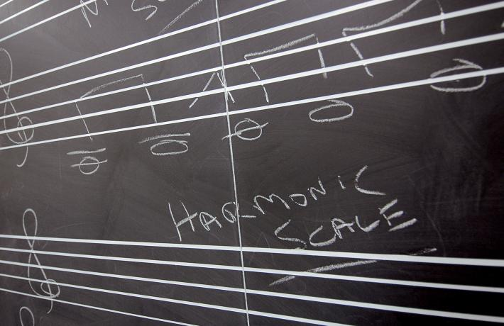 Theory notation on a chalkboard