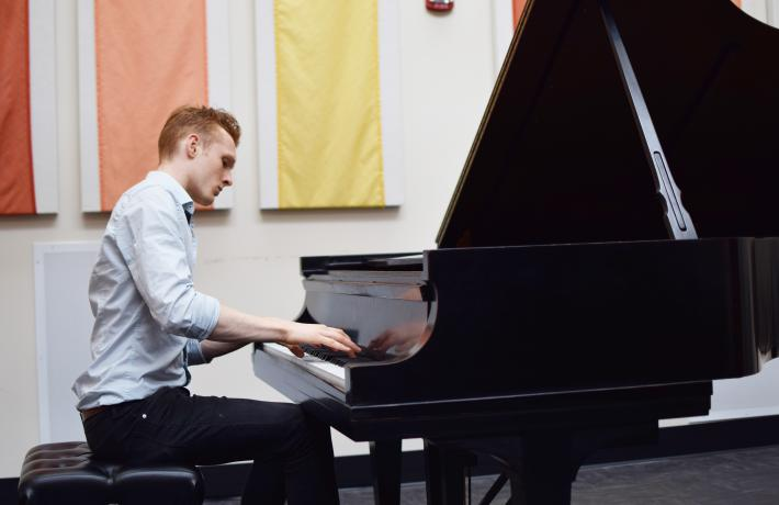 Piano student performing in recital