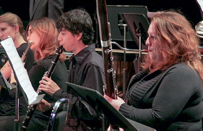 Woodwind section in performance
