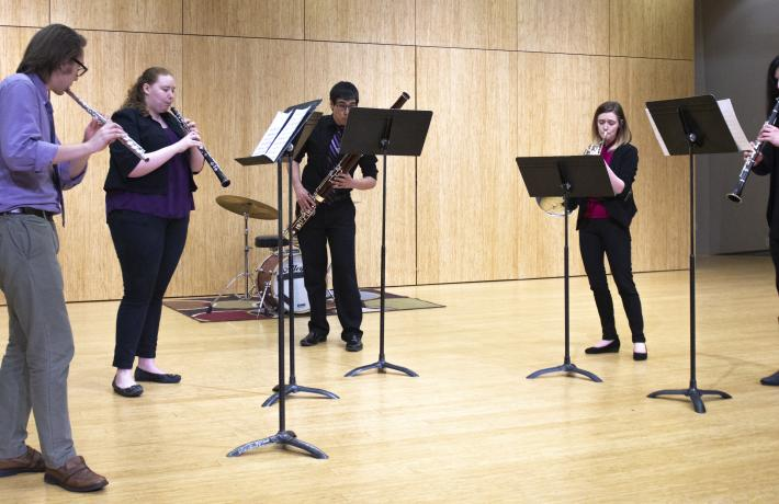 A student chamber ensemble in recital