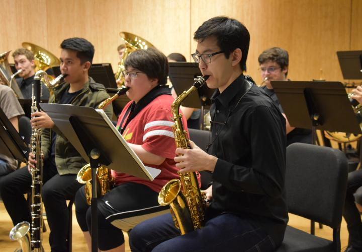 Concert Band students in rehearsal