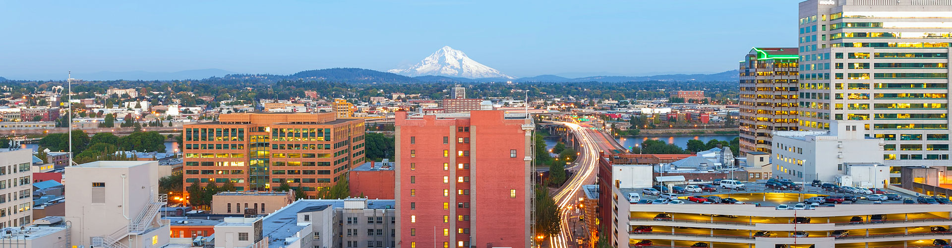 Portland Oregon downtown cityscape with Mt Hood view