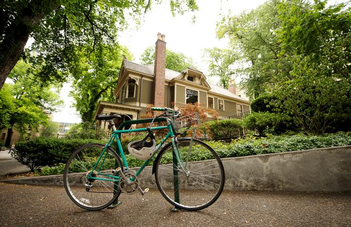 Bicycle in Front of Simon Benson House
