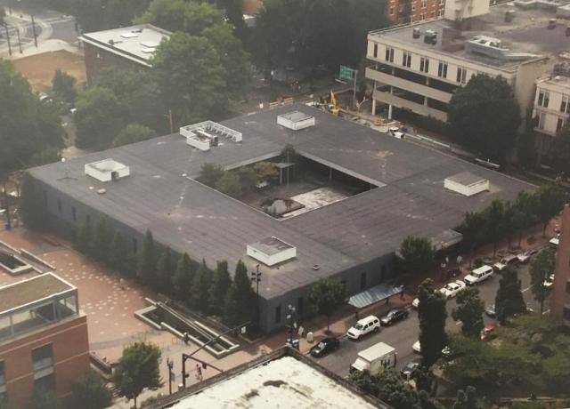 An aerial view of the PCAT building.