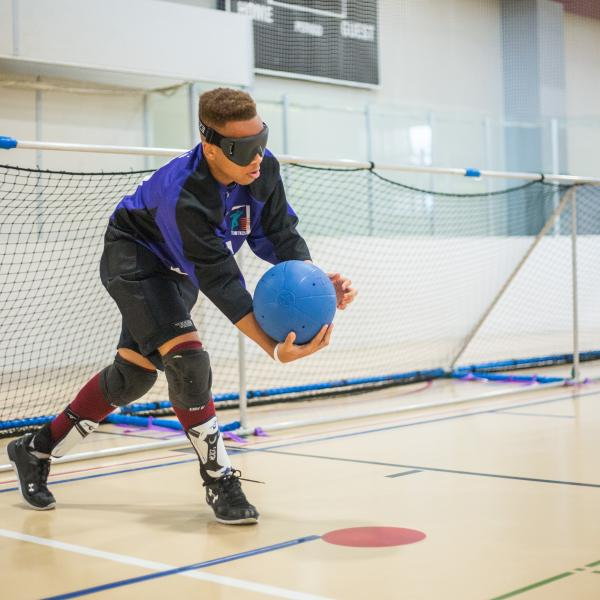 Person playing goalball