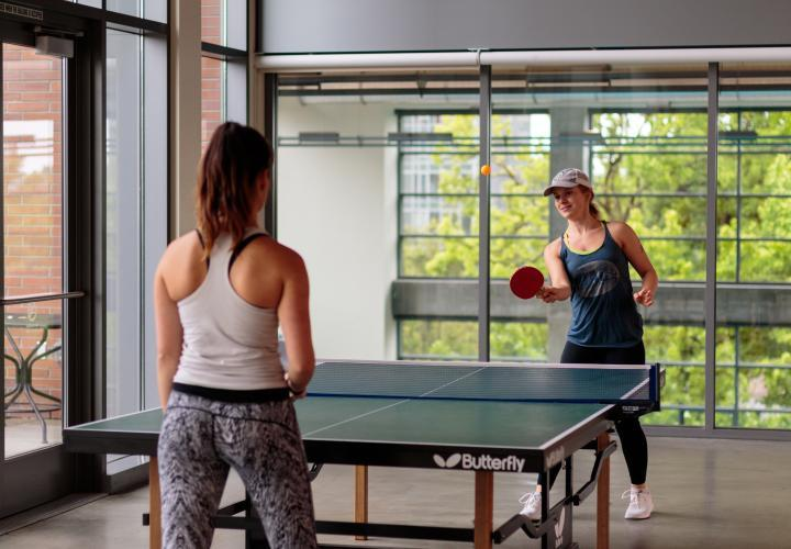 The image is of two people in a gym playing table tennis together.