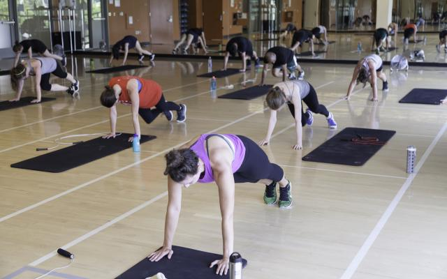 A group of people on a gym floor, everyone has a black mat in front of them and they are all in plank pose.