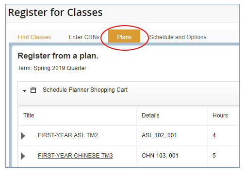 Register from a plan