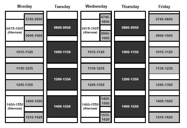 Academic Scheduling PSU Time Grid   Portland State University