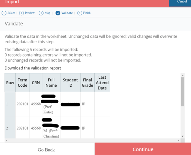 Screen shot of validating data in file import