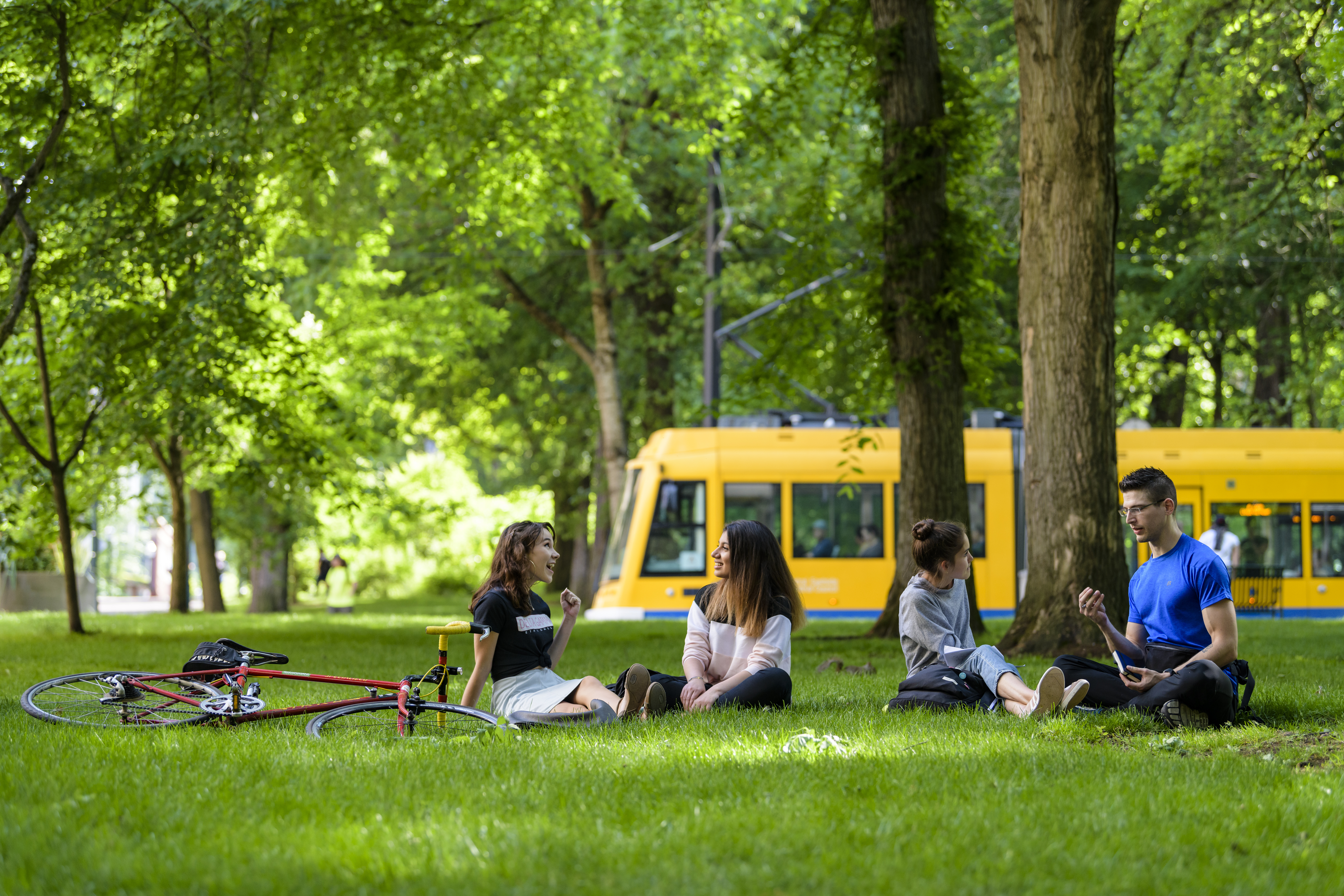 students relaxing in Park Blocks