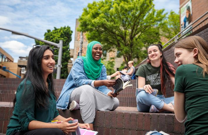 students hanging out in Urban Plaza