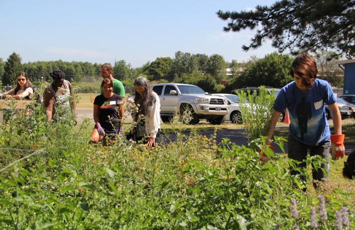 Instructor and students pulling weeds from garden