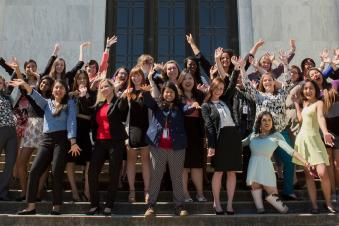 Group of women's leadership students posing for a group photograph