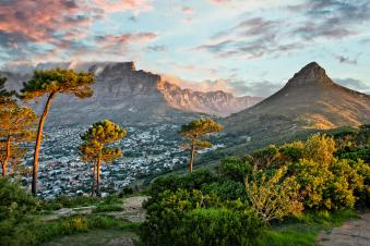 Panorama of Cape Town and Table mountain, view from Signal Hill, South Africa