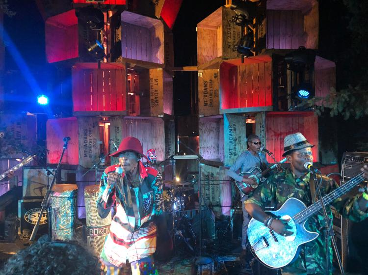 Pickathon stage with a band playing on stage