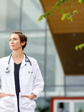 Portland State University clinical health student standing outside