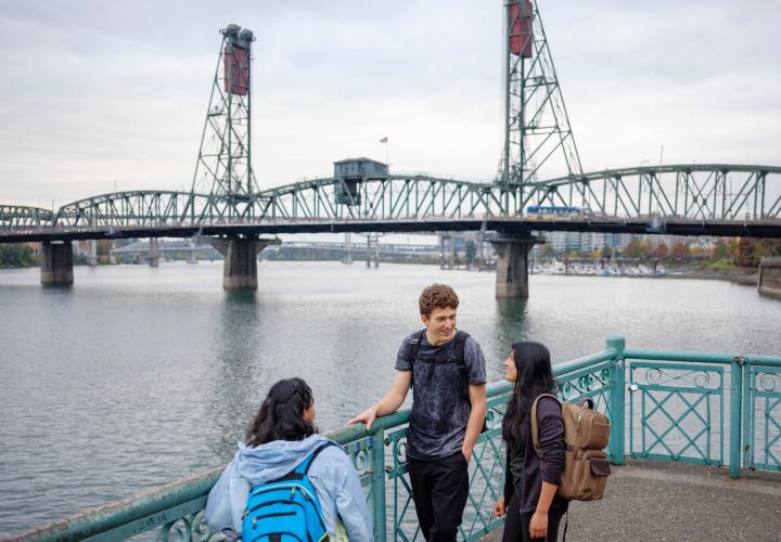 Students on waterfront