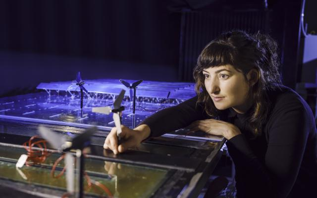woman working on wind tunnel experiment