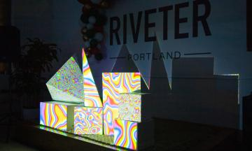 Interactive sound and light installation by Stephen Lee at the 2020 Portland Winter Light Festival.