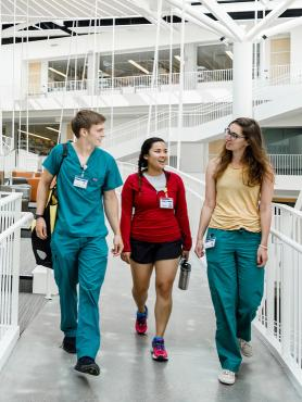 Public health students walking through corridor