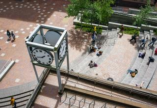 Clock in PSU's Urban Plaza