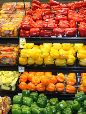 Produce on grocery shelves