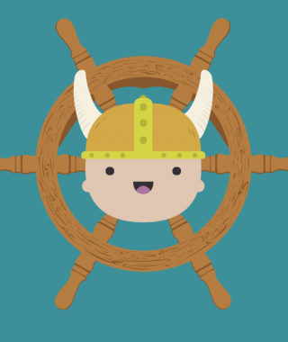 cartoon graphic of a baby head wearing a two-horned viking helmet, in front of a ship's wheel.