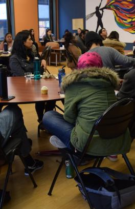 A group of students in the multicultural student center.