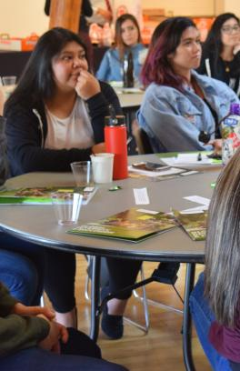 Students at a table in discussion.