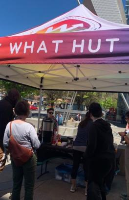 The HUT out on campus engaging with students.