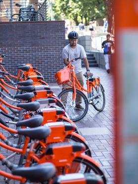 several orange bicycles parked uniformly
