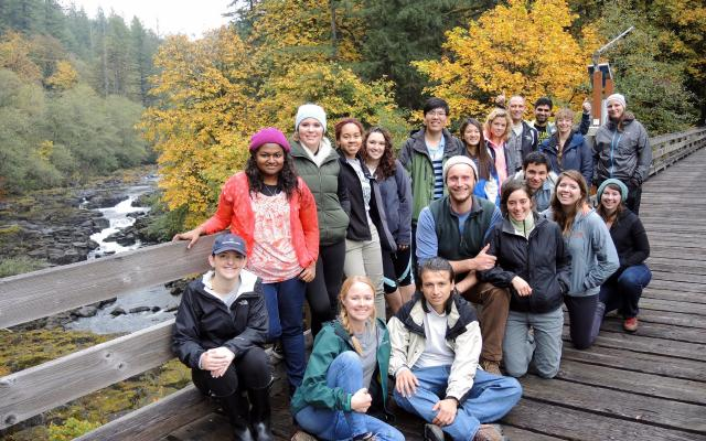 group of students on bridge at tillamook forest center on field trip
