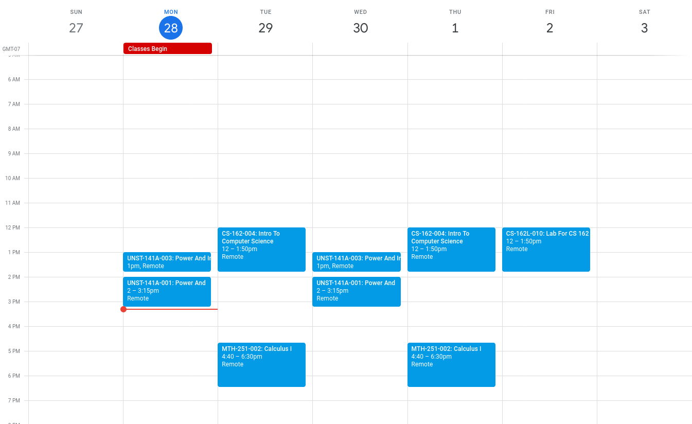 Google Calendar with PSU Class Time