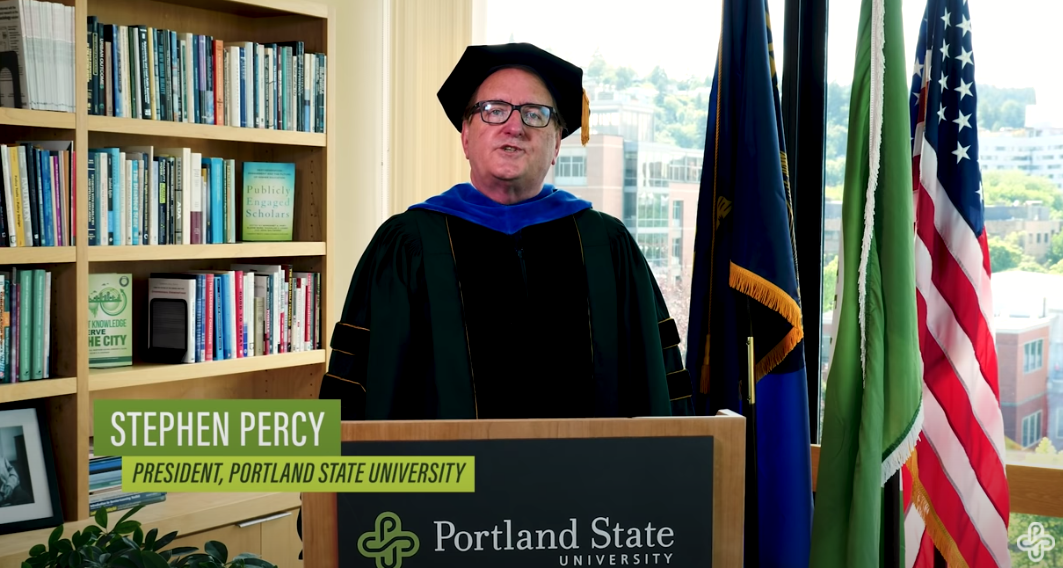 PSU President Percy speaks at the 2020 Commencement ceremony