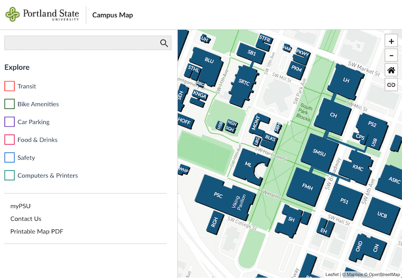 Interactive digital PSU campus map