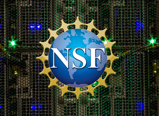 National Science Foundation logo against a supercomputer background