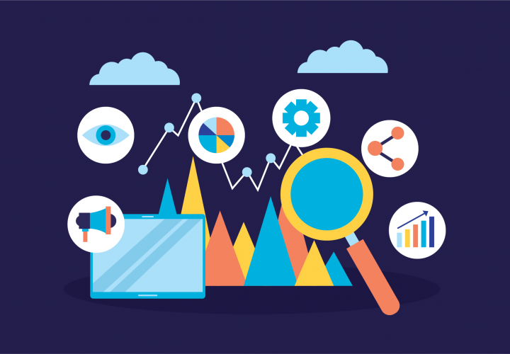 Abstract illustration representing process improvement showing magnifying glass, laptop, pie charts and bar graphs.