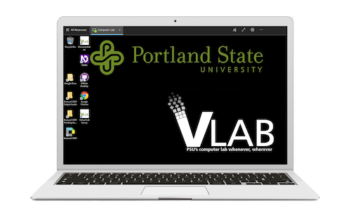Laptop with PSU's VLAB in use.
