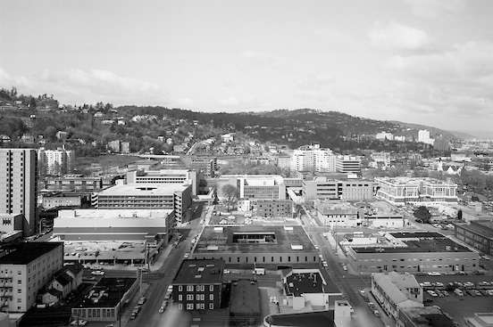 View of Portland in Black and White.