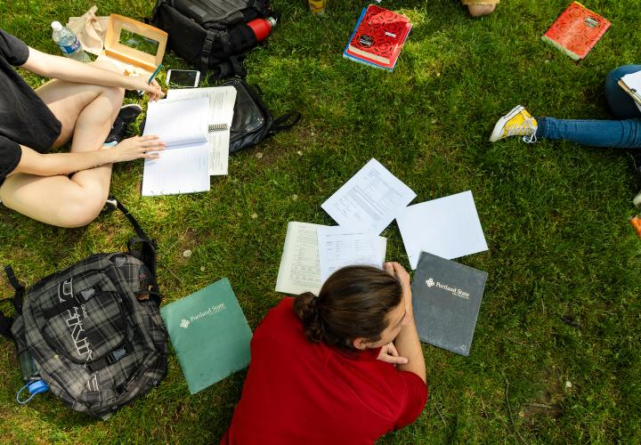 Students studying outside.